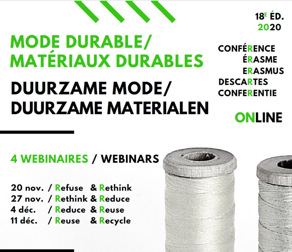 """18ème conférence Erasme Descartes """"Mode durable / Matériaux durables"""""""