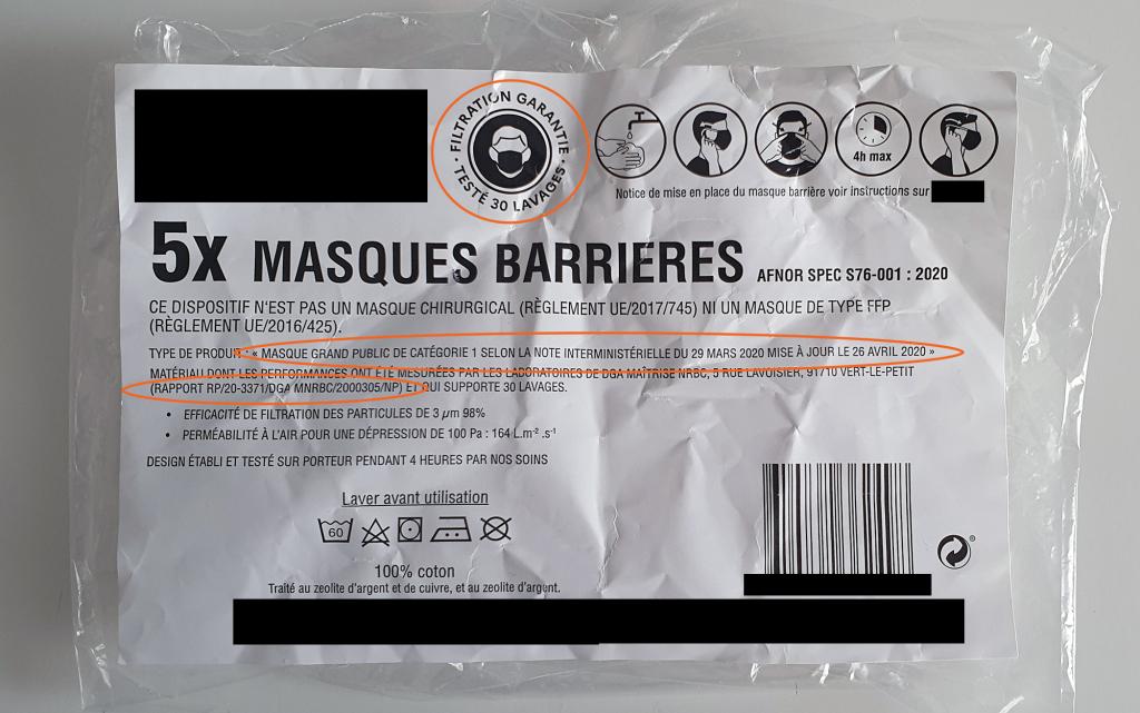 Ce qu'il faut vérifier sur l'emballage en achetant un masque textile à usage non sanitaire de catégorie 1 - EuraMaterials