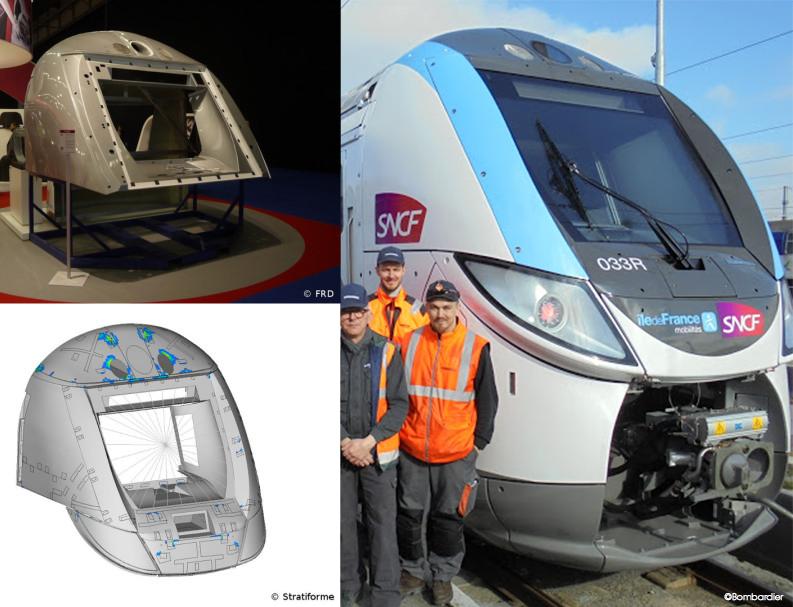 Cabine de train Regio 2N en fibres végétales - Projet SINFONI. Crédits FRD, Stratiforme, Bombardier