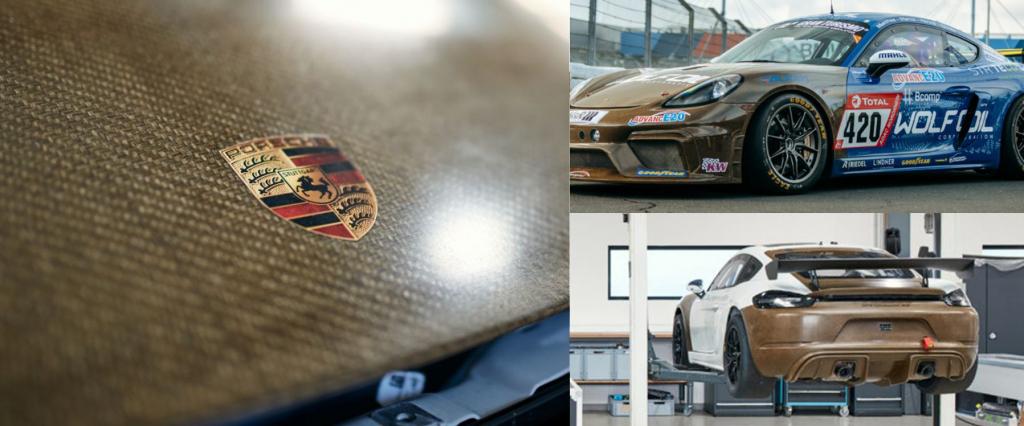 Matériaux composites à fibres de lin pour la voiture de course Cayman 718 GT4 CS MR Porsche ©Porsche
